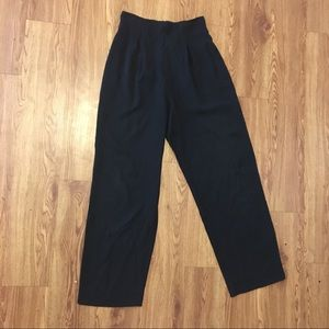 VINTAGE High Waisted Black Zip Trousers